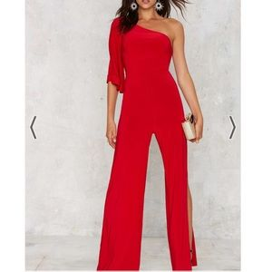 Nasty gal love fool red jumpsuit size small